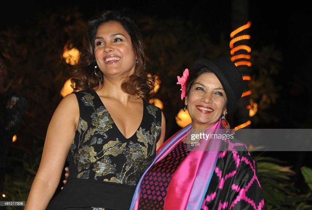 Indian Bollywood film actresses <a gi-track='captionPersonalityLinkClicked' href=/galleries/search?phrase=Lara+Dutta&family=editorial&specificpeople=728080 ng-click='$event.stopPropagation()'>Lara Dutta</a> (L) and <a gi-track='captionPersonalityLinkClicked' href=/galleries/search?phrase=Shabana+Azmi&family=editorial&specificpeople=565786 ng-click='$event.stopPropagation()'>Shabana Azmi</a> attend the 50th birthday party of Bollywood film director, choreographer, producer and actress Farah Khan at her residence in Mumbai on January 8, 2015.