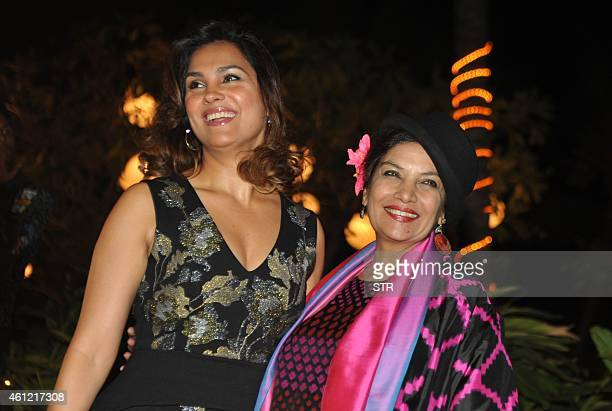 Indian Bollywood film actresses Lara Dutta and Shabana Azmi attend the 50th birthday party of Bollywood film director choreographer producer and...