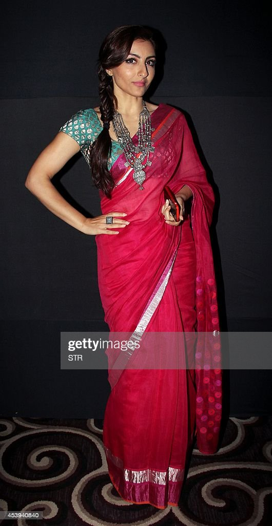 Indian Bollywood film actresses Soha Ali Khan poses during the Lakme Fashion Week Winter/Festival 2014 in Mumbai on August 21 2014 AFP PHOTO