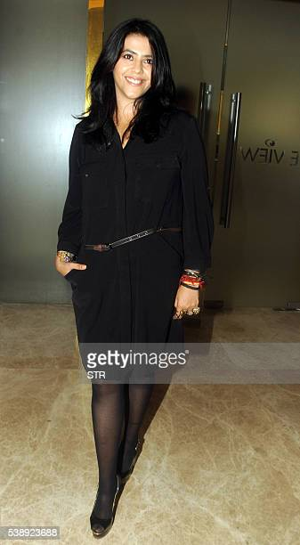 Indian Bollywood film and television producer Ekta Kapoor poses during the trailer and song launch of the forthcoming Hindi film A Scandall in Mumbai...