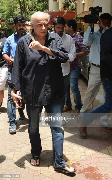 Indian Bollywood film director Mahesh Bhatt arrives to attend the funeral of Veteran Bollywood Hindi and Marathi film actress Reema Lagoo in Mumbai...