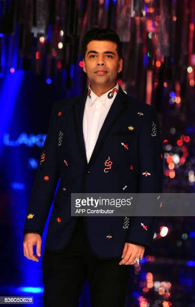 Indian Bollywood film producer and director Karan Johar poses for a photograph during the grand finale of Lakme Fashion Week Winter/Festive 2017 in...