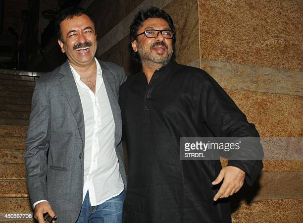 Indian Bollywood filmakers Rajkumar Hirani and Sanjay Leela Bhansali attend the launch for the autobiography of veteran Bollywood actor Dilip Kumar...