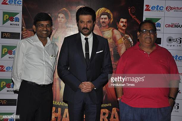 Indian Bollywood filmmaker Jayantilal Gada actor Anil Kapoor and producer Satish Kaushik during the trailer launch of animated film Mahabharat at...
