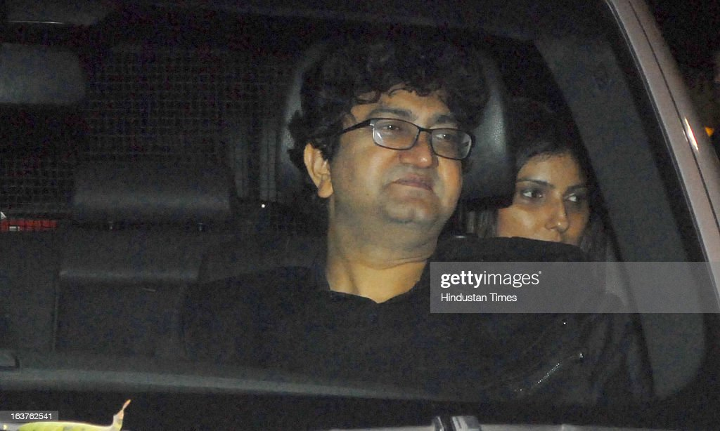 Indian Bollywood lyricist and screenwriter Prasoon Joshi arriving for the Steven Spielberg's party which is organised by Anil Ambani, chairman of Anil Dhirubhai Ambani Group at Taj President, Cuffe Parade on March 12, 2013 in Mumbai, India. Spielberg is in India to celebrate the success of his film Lincoln, a co-production between his banner DreamWorks and Anil Ambani's Reliance Entertainment.