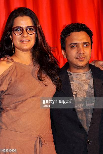 Indian Bollywood music composer Ram Sampath and singer Sona Mohapatra pose for a photograph during a promotional event for the forthcoming Hindi film...