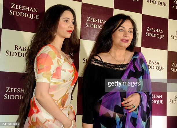 Indian Bollywood play back singer Salma Agha with daughter actress Sasha Agha attend an Iftar party hosted by politician Baba Siddiqui during the...