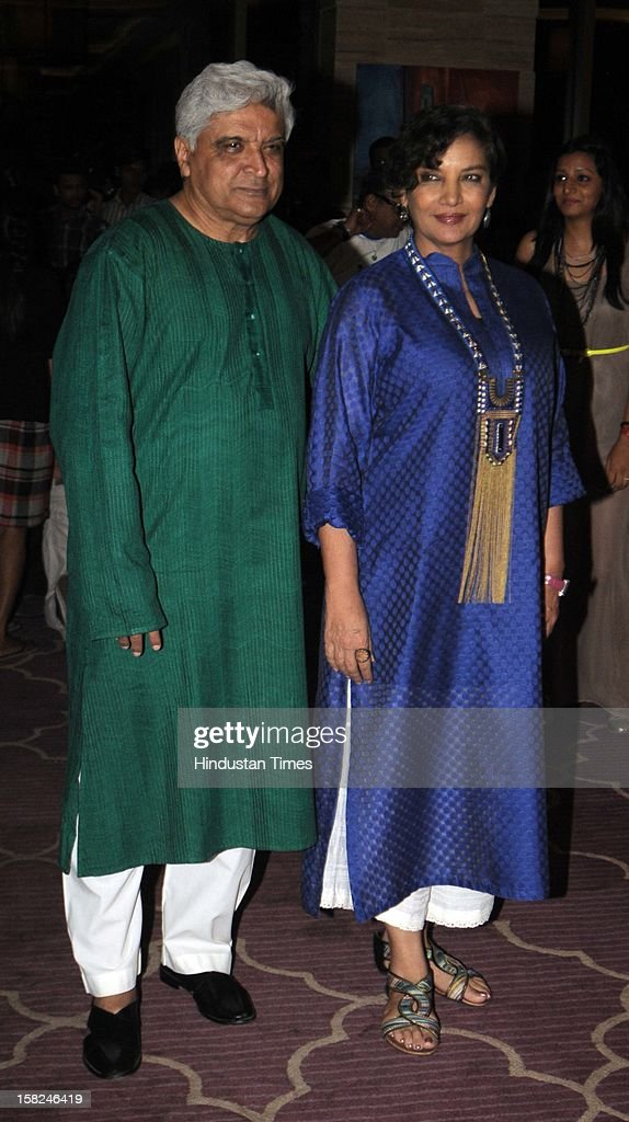 Indian bollywood poet, lyricist and scriptwriter Javed Akhtar with his wife Shabana Azmi during the 'Talaash' success party at JW Marriott, Juhu on December 10, 2012 in Mumbai, India. Talaash hit the box office on the 30th of November.