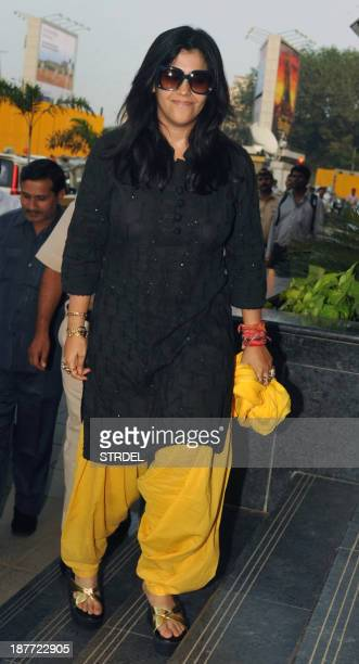 Indian Bollywood producer Ekta Kapoor arrives for a media conference with the Mumbai Commissioner of Police in Mumbai on November 11 2013 AFP...