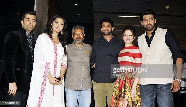 Indian Bollywood producer Karan Johar actress Anushka Shetty writer and director S S Rajamouli and actors Prabhas Tamannaah Bhatia and Rana Daggubati...