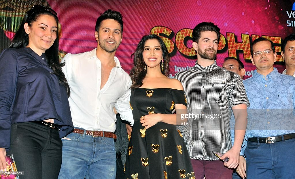 Indian Bollywood producer Manyata Dutt actors Varun Dhawan Sophie Choudry and Neil Nitin Mukesh and producer Champak Jain pose for a photograph...