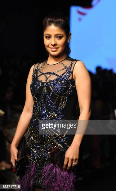 Indian Bollywood singer Sunidhi Chauhan attends the Lakme Fashion Week Summer Resort 2017 in Mumbai on February 3 2017 / AFP /