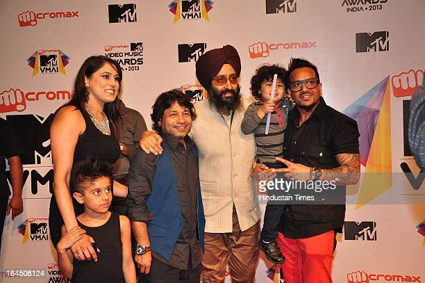 Indian Bollywood singers Kailash Kher Rabbi Shergill with Jazzy B during the MTV Video Music Awards 2013 at Tulip Star Hotel Juhu Tara Road on March...