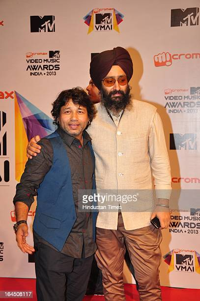 Indian Bollywood singers Kailash Kher with Rabbi Shergill during the MTV Video Music Awards 2013 at Tulip Star Hotel Juhu Tara Road on March 21 2013...