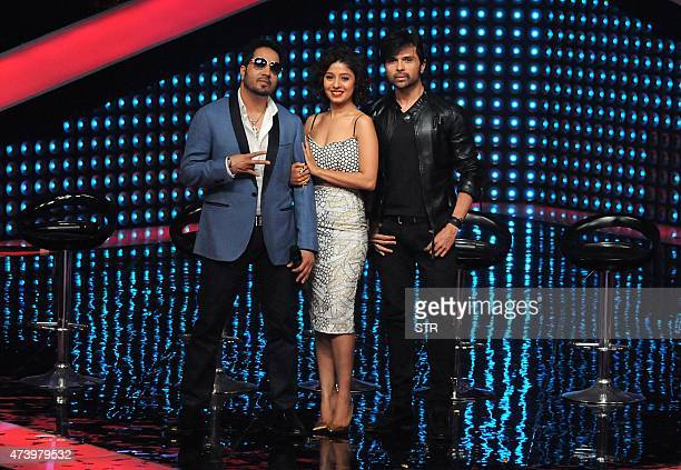 Indian Bollywood singers Mika Singh Sunidhi Chauhan and Himesh Reshammiya appear as judges during the unveiling of the television reality music show...