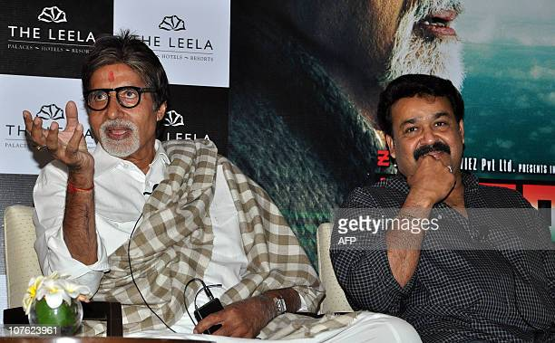 "Indian Bollywood superstar Amitabh Bachchan and Mohanlal attend the premiere screening for the Indian Malayalamlanguage film ""Kandahar"" directed by..."