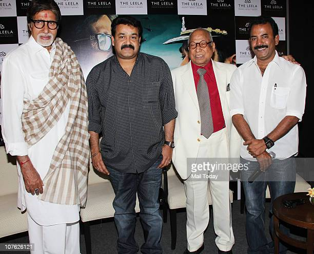 Indian Bollywood superstar Amitabh Bachchan and Mohanlal Vishwanathan Nair attend the premiere screening for the Indian Malayalamlanguage film...