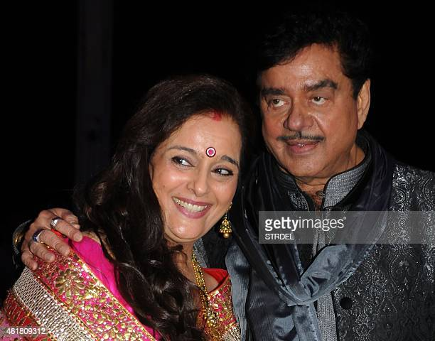 Indian Bollywood veteran actor Shatrughan Sinha with his wife Poonam attend the wedding reception of his son Kussh Sinha and Taruna Agarwal in Mumbai...