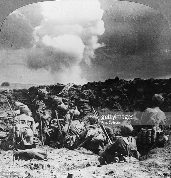 Indian bombers holding an important trench near Neuve Chapelle France World War I c1914c1918 Indian troops under German shell fire Stereoscopic card...