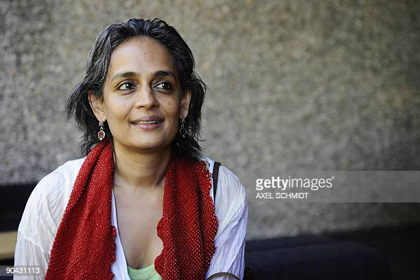 Indian booker prizewinning author and antiglobalisation activist Arundhati Roy poses for photographers on September 8 2009 ahead of the...