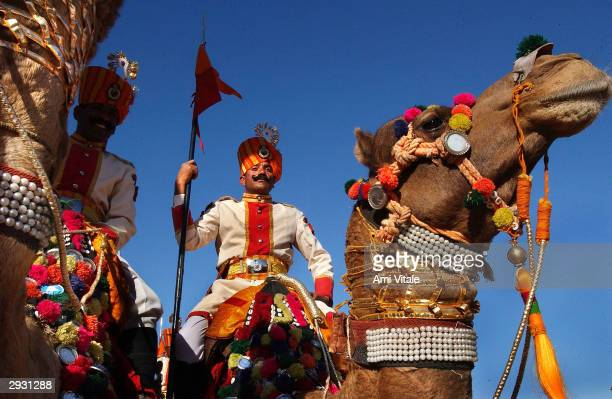Indian Border Security Force officers prepare for a demonstration during the Desert Festival of Jaisalmer on February 5 2004 in Rajasthan India This...