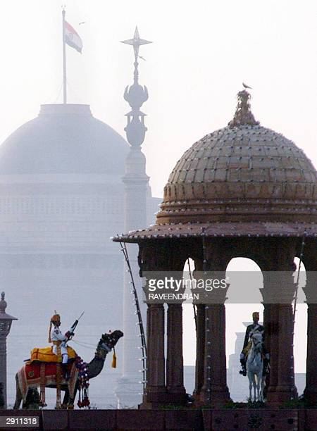 Indian Border Security Force paramilitary soldiers ride on camels in front of Rashtrapati Bhawan The Presidential Palace as they take part in a...
