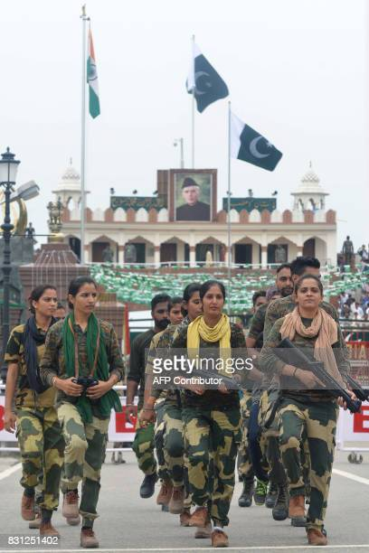 Indian Border Security Force soldiers rehearse for the 70th Independence Day at the IndiaPakistan Wagah border post on August 14 2017 Muslimmajority...
