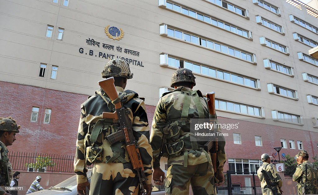 Indian Border Security Force (BSF) soldiers stand guard outside the G.B. Pant Hospital on January 22, 2013 in New Delhi. Former Haryana Chief Minister, Om Prakash Chautala was admitted to the hospital following his sentence to 10 years imprisonment for corruption in a teachers' recruitment scam and other charges.