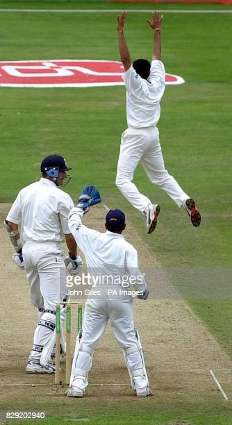 Indian bowler Anil Kumble leaps high to celebrate the wicket of Andrew Caddick of England Caught to give India victory in the Third nPower Test at...