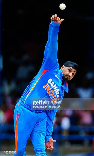 Indian bowler Harbhajan Singh bowls during West Indies against India Twenty20 match at the Queen's Park Oval in Port of Spain June 4 2011 AFP...