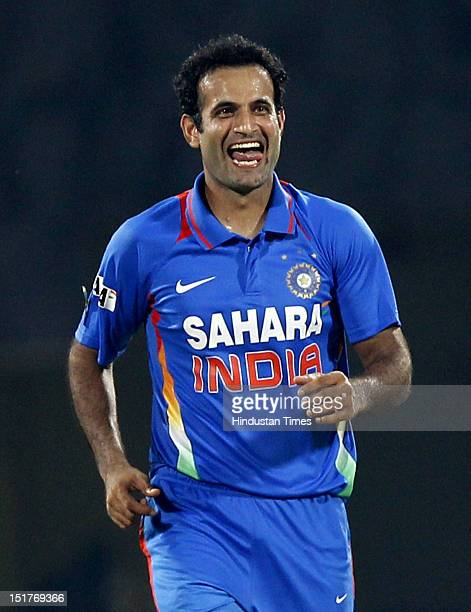 Indian bowler Irfan Pathan celebrates after the dismissal of New Zealand Batsman Brendom McCullum during the 2nd T20 match played between India and...