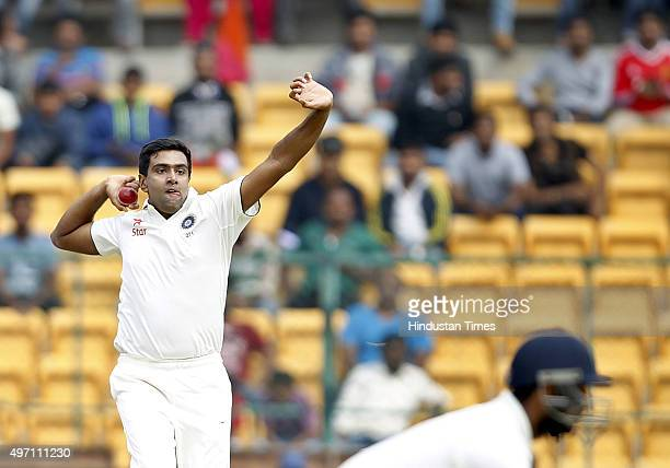 Indian bowler Ravichandran Ashwin in action during the 2nd Test match between India and South Africa at M Chinnaswamy Stadium on November 14 2015 in...