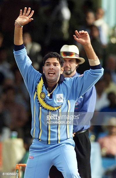 Indian bowler Yuvraj Singh in action before wicket on South Africa batsman Gary Kirsten 13 October 2000 at the ICC trophy tournament in Nairobi India...
