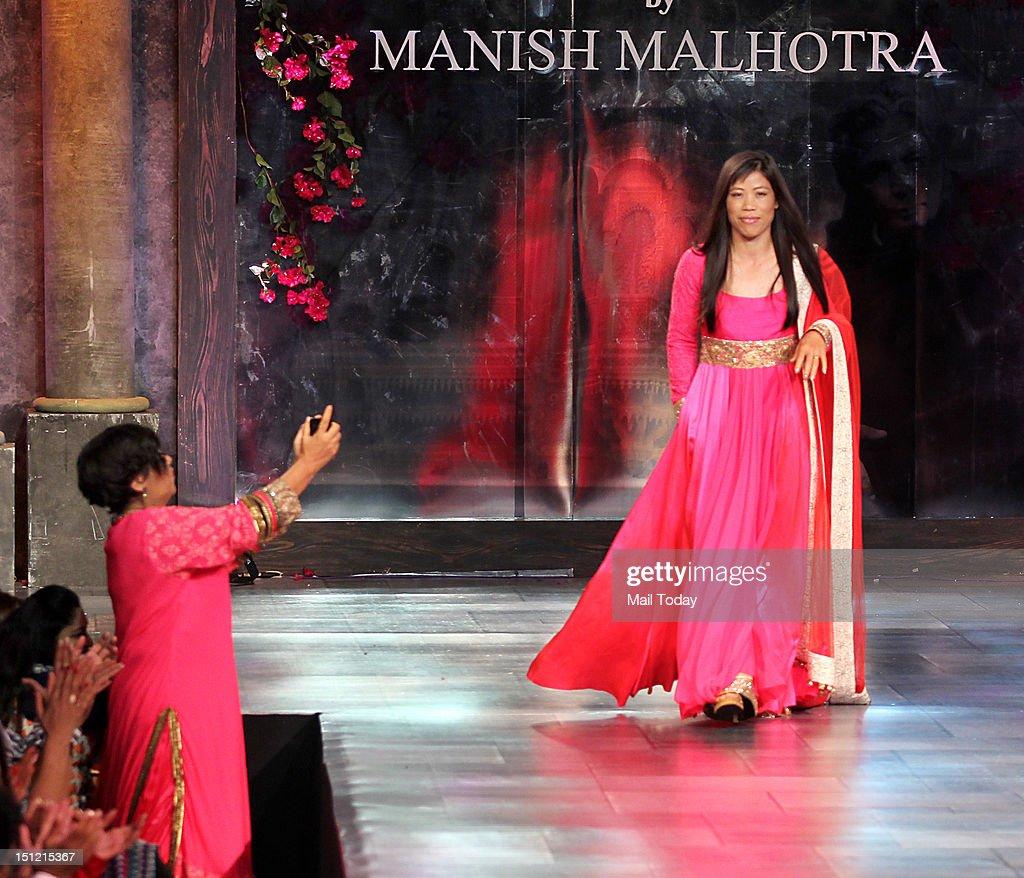 Indian Boxer Mary Kom during Shabana Azmi's charity fundraising fashion show Mijwan at Grand Hyatt in Mumbai on September 3, 2012.