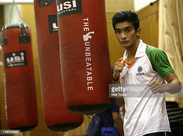 Indian boxer Shiv Thapa during a practice session for London Olympics 2012 at Netaji Subhas National Institute of Sports Patiala on Saturday