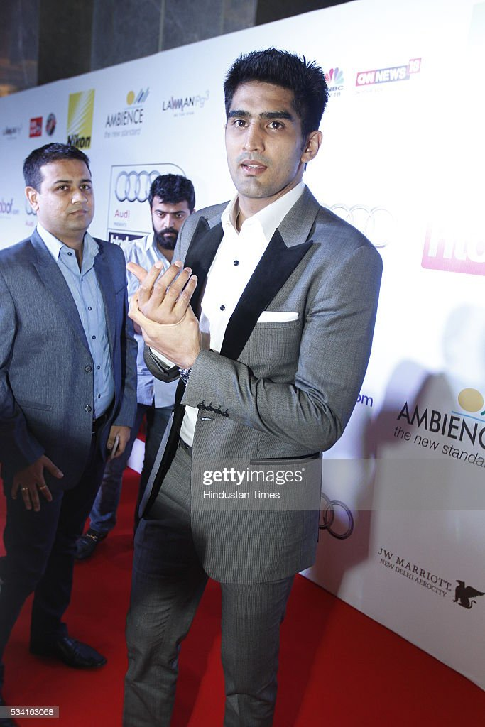 Indian Boxer Vijender Singh arriving at red carpet for Hindustan Times Most Stylish Awards 2016 at hotel JW Marriot, Aerocity on May 24, 2016 in New Delhi, India.