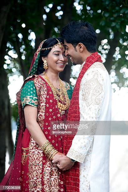 Indian Bride and Groom in the Garden Close-Up
