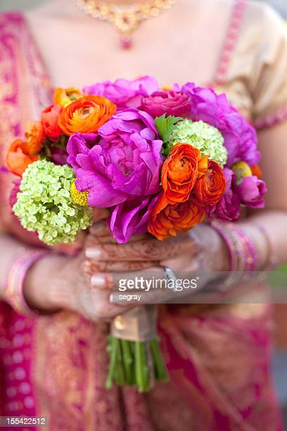 Indian bride with bright bouquet