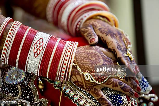 Indian bride with heena tattoos