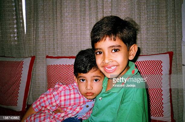 Indian Brothers Hugging Close