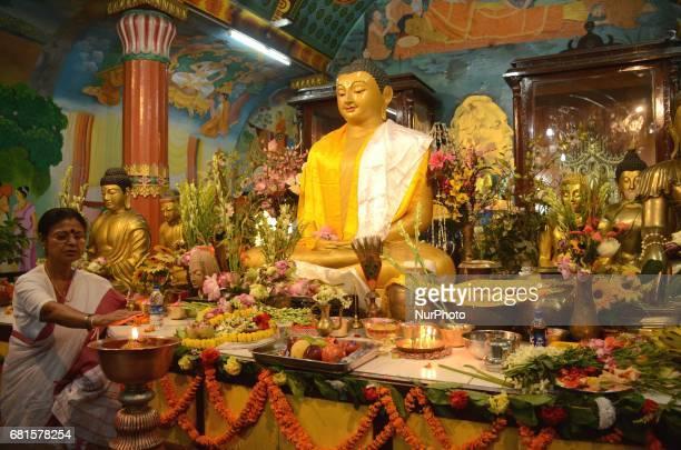 Indian Buddhist devotee praying at the Buddhist temple during Buddha Purnima festival in Kolkata India on Wednesday 10th May 2017 Buddha's birthday...
