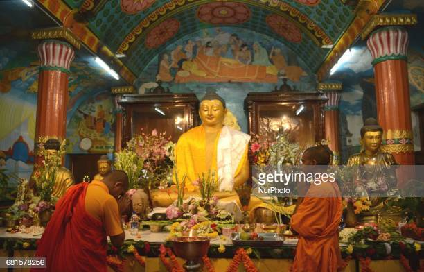 Indian Buddhist monks praying at the Buddhist temple during Buddha Purnima festival in Kolkata India on Wednesday 10th May 2017 Buddha's birthday is...