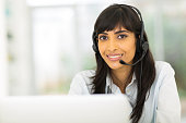 attractive indian call center representative