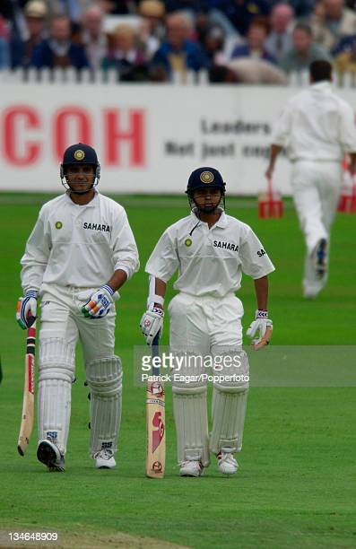 Indian captain Sourav Ganguly walks out to the middle with debutant Parthiv Patel during the 2nd Test between England and India at Trent Bridge...