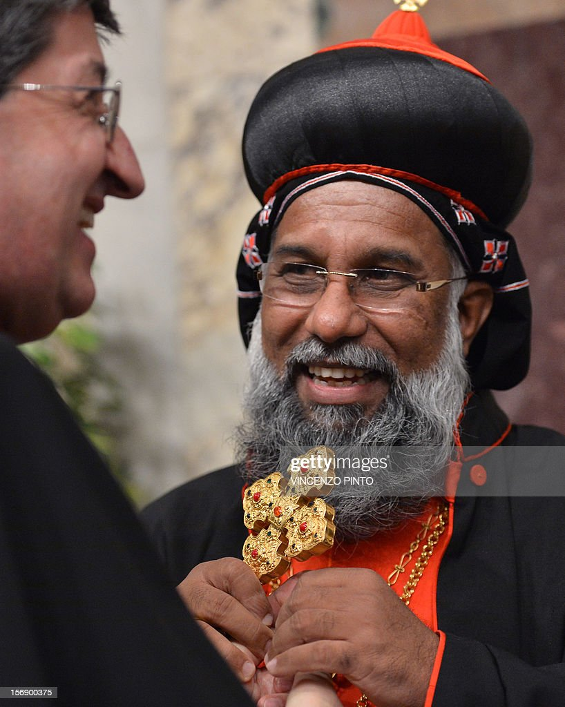 Indian cardinal Baselios Cleemis Thottunkal greets Italian cardinal Giuseppe Betori (R) during the courtesy visit after being appointed by the pontif on November 24, 2012 at the Apostolico palace at the Vatican. Six non-European prelates are set to join the Catholic Church's College of Cardinals, a move welcomed by critics concerned that the body which will elect the future pope is too Eurocentric.