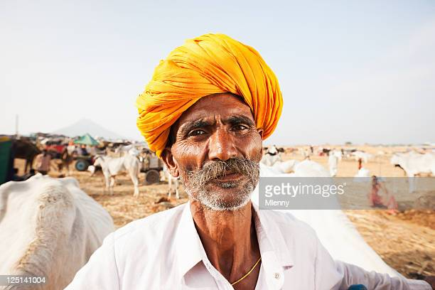 Indian Cattle Merchant Pushkar Camel Fair Real People Portrait Series