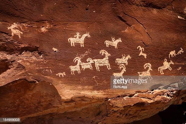 Indian Pintura rupestre del petroglifo