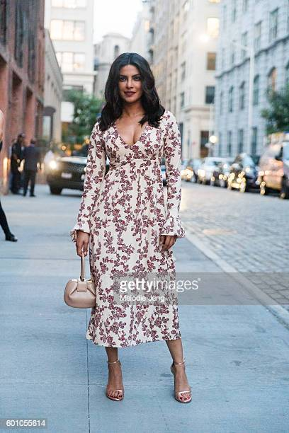 Indian celebrity Priyanka Chopra in Thakoon and Gabriela Hearst at the Thakoon show on September 8 2016 in New York City