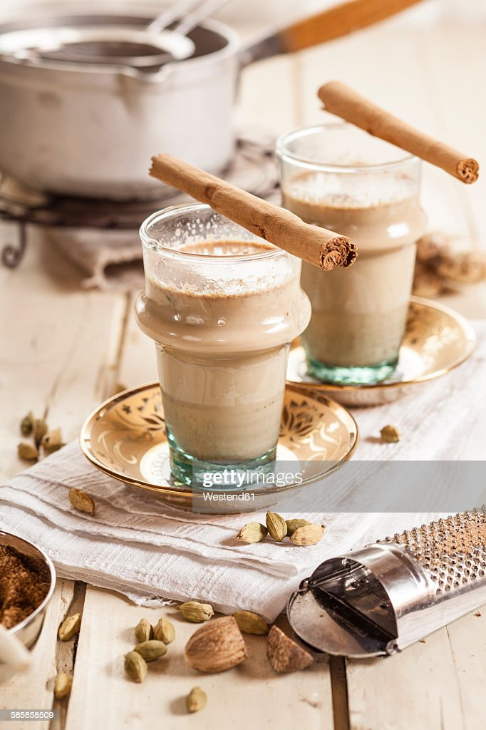 Indian chai with spices : Stock Photo