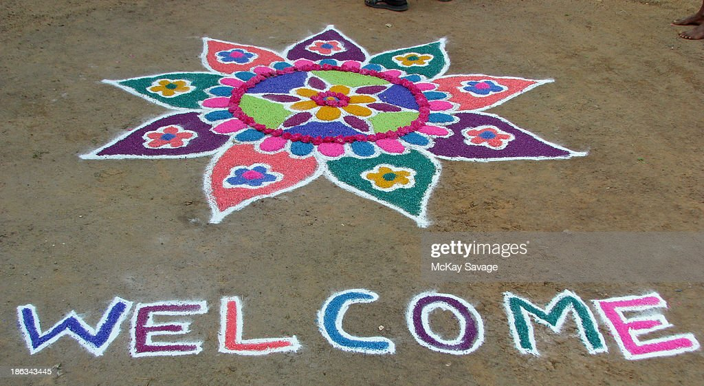 Indian Chalk and Flower Art 'Welcome'